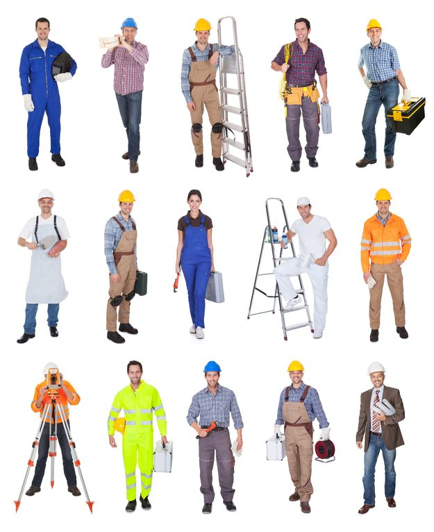 18065469 - industrial construction workers. isolated on white background